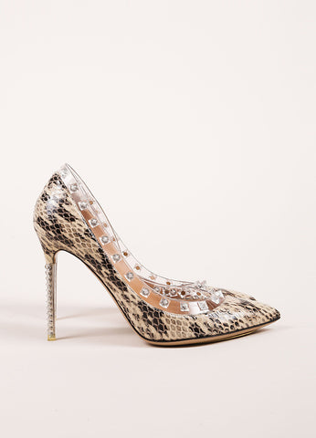 "Valentino Beige and Black Snakeskin Leather ""Naked Rockstud"" Pumps Sideview"