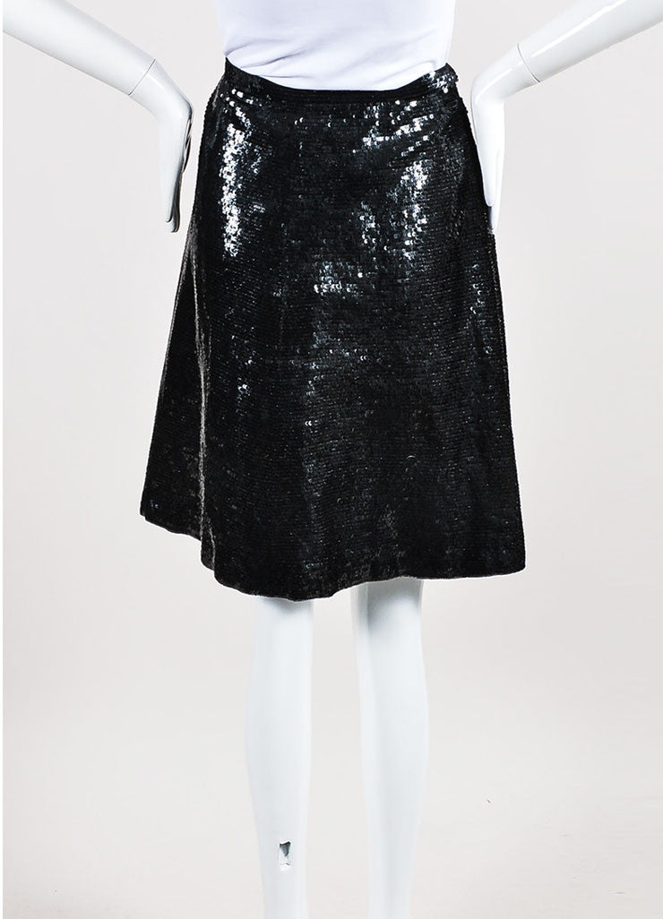 Black Valentino Silk Sequin Embellished Pleated Knee Length A-Line Skirt Backview
