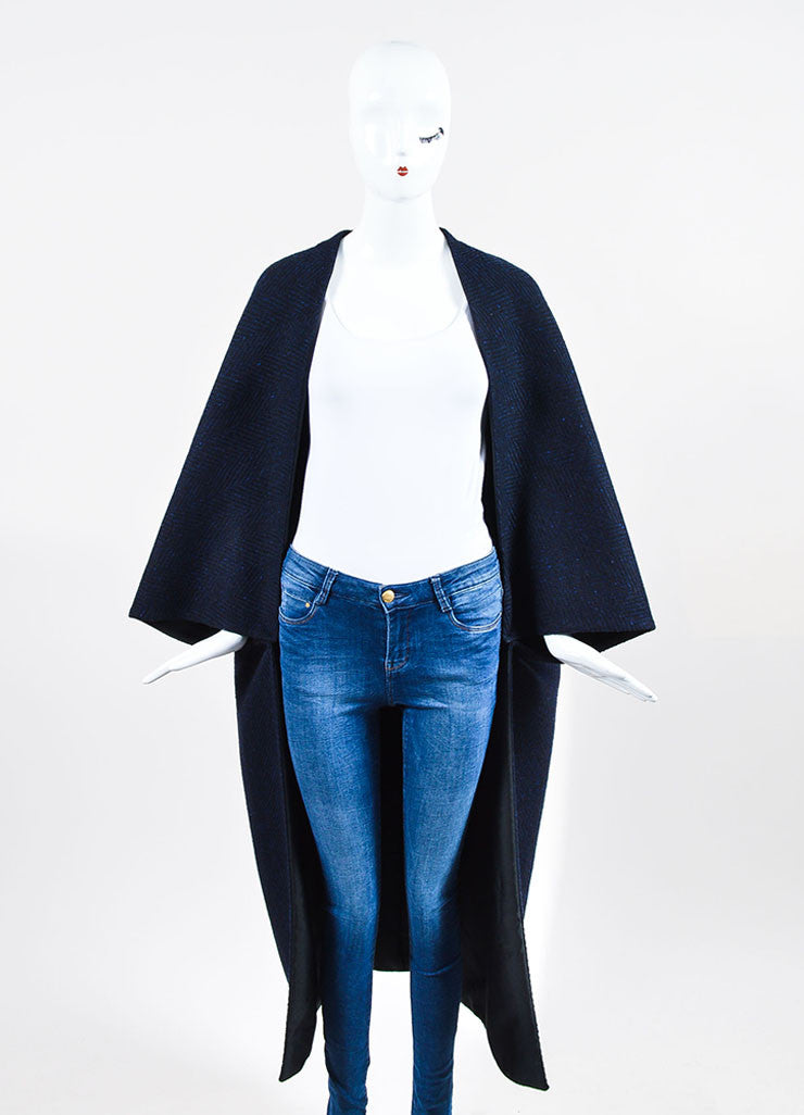 Blue and Black Valentino Wool Chevron Oversize Cocoon Cape Frontview