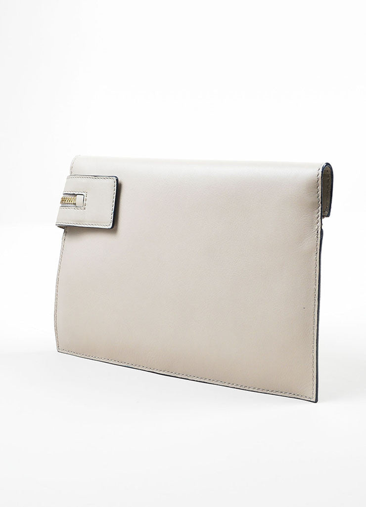 Grey and Blue Victoria Beckham Leather Zip Pouch Clutch Bag Sideview