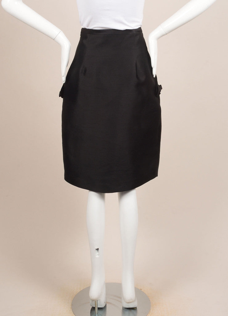 Y & Kei Black Silk Shantung Buckled Tab Pleated Skirt Backview