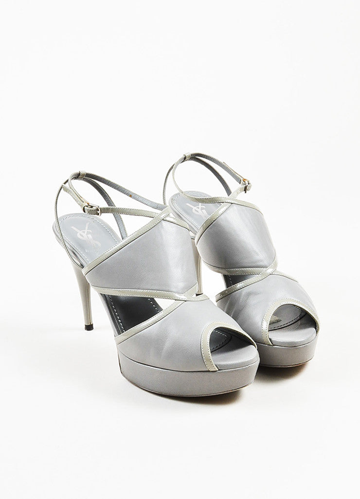 Yves Saint Laurent Grey Leather Platform Peep Toe Sandal Heels Frontview