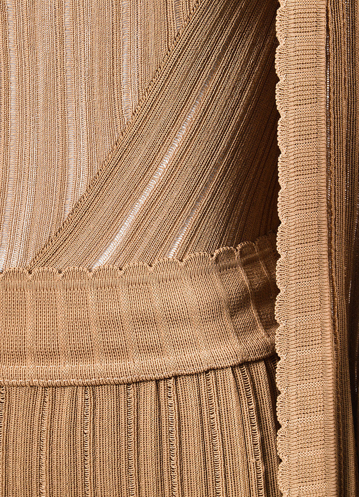 Camel Tan Knit Alaia Bodysuit, Wide Leg Pants, and Cardigan Three Piece Set Detail