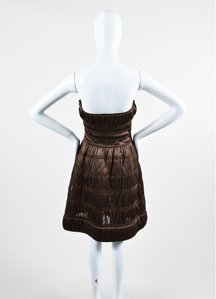 Metallic Brown Alaia Corset Strapless Dress Backview