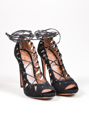 Black Alaia Suede Leather Lace Up Cut Out High Heel Pumps Frontview