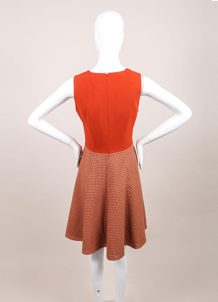 Andrew Gn New With Tags Tan, Orange, and Red Wool Blend Houndstooth Skater Dress Backview