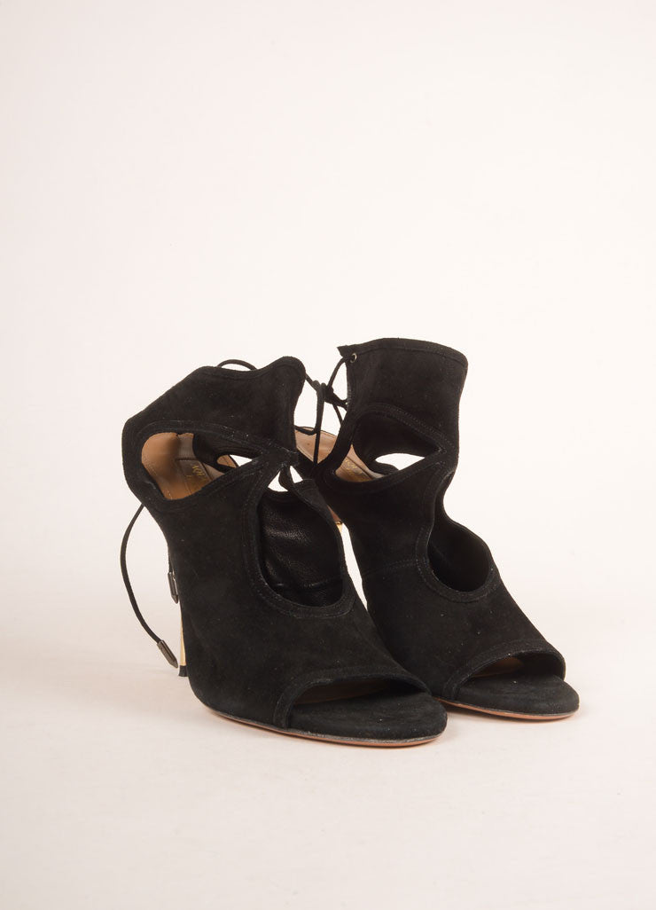 Aquazzura Black and Gold Toned Suede Cut Out Open Toe Stiletto Booties Frontview