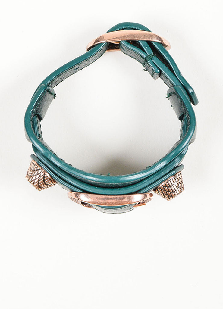 Dark Green Balenciaga Leather Classic Strap Bracelet Top