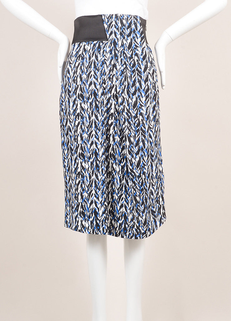 Balenciaga New With Tags Black, Blue, and Grey Graphic Print Drape Skirt Frontview