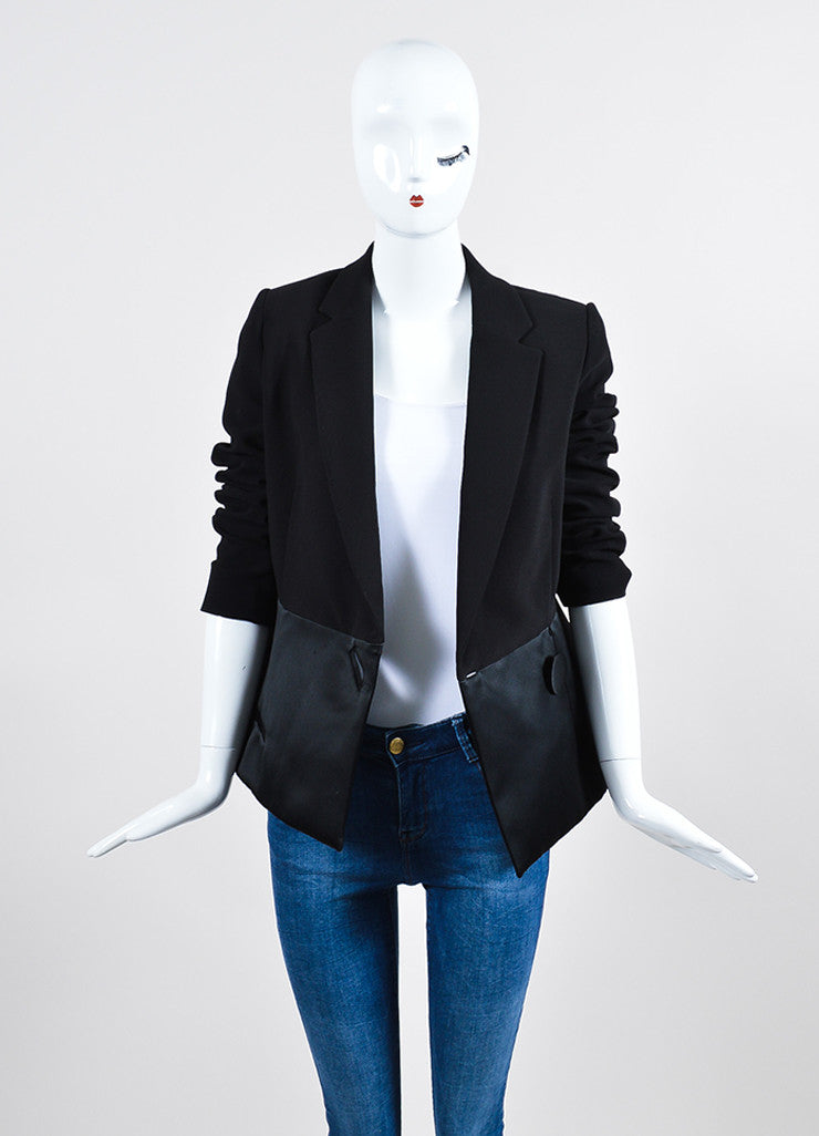 Black Balenciaga Satin and Wool Double Breasted Peplum Jacket  Frontview