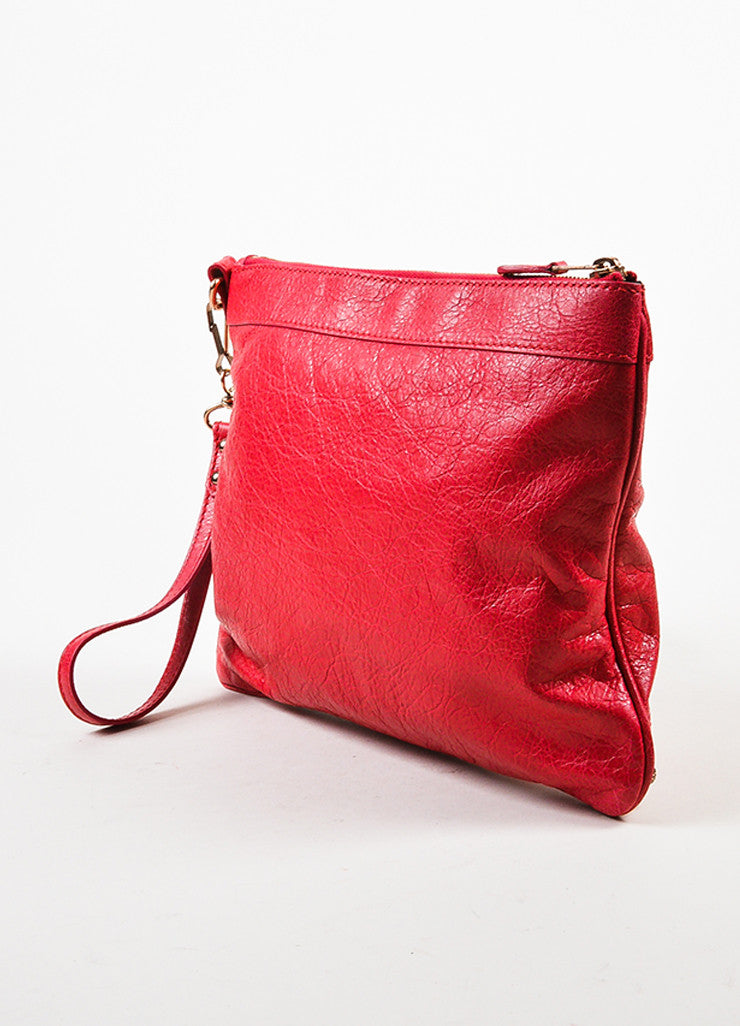 "Red Leather Rose Gold Toned Studded Balenciaga ""Giant 12 Wristlet Clutch"" Bag Sideview"