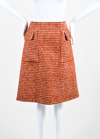 "Bottega Veneta Rust Red and Cream Pied De Poule Wool ""Arizona"" Skirt Frontview"