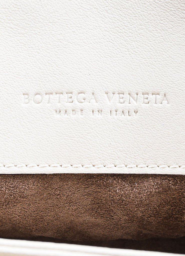 "Bottega Veneta White Woven Leather Fringed ""Olimpia Tobu"" Shoulder Bag Brand"