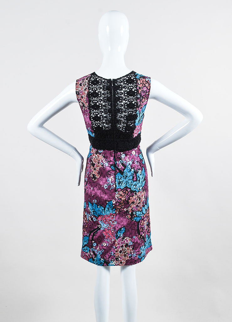 Purple, Blue, and Black Burberry Prorsum Floral Lace Inset Dress Backview
