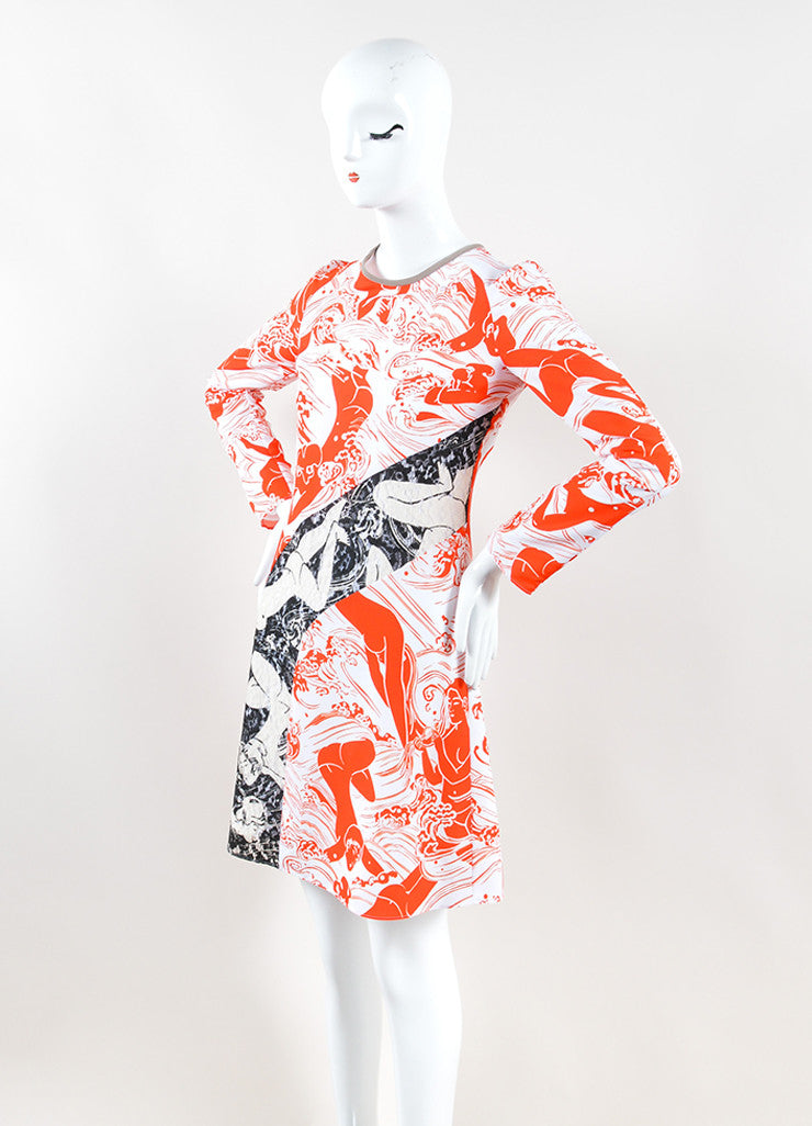 Carven White and Orange Lace Insert Graphic Print Long Sleeve Dress Sideview