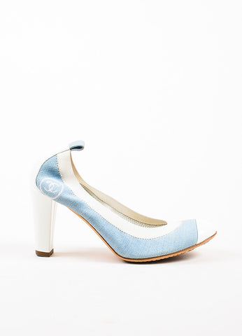 Chanel Light Blue and White Denim Patent Leather Cap Toe Block Heel Pumps Sideview