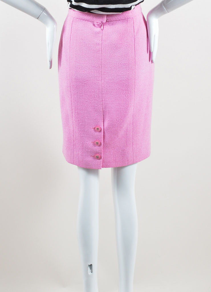 "Chanel Pink Wool Knit ""CC"" Button Pencil Skirt Backview"