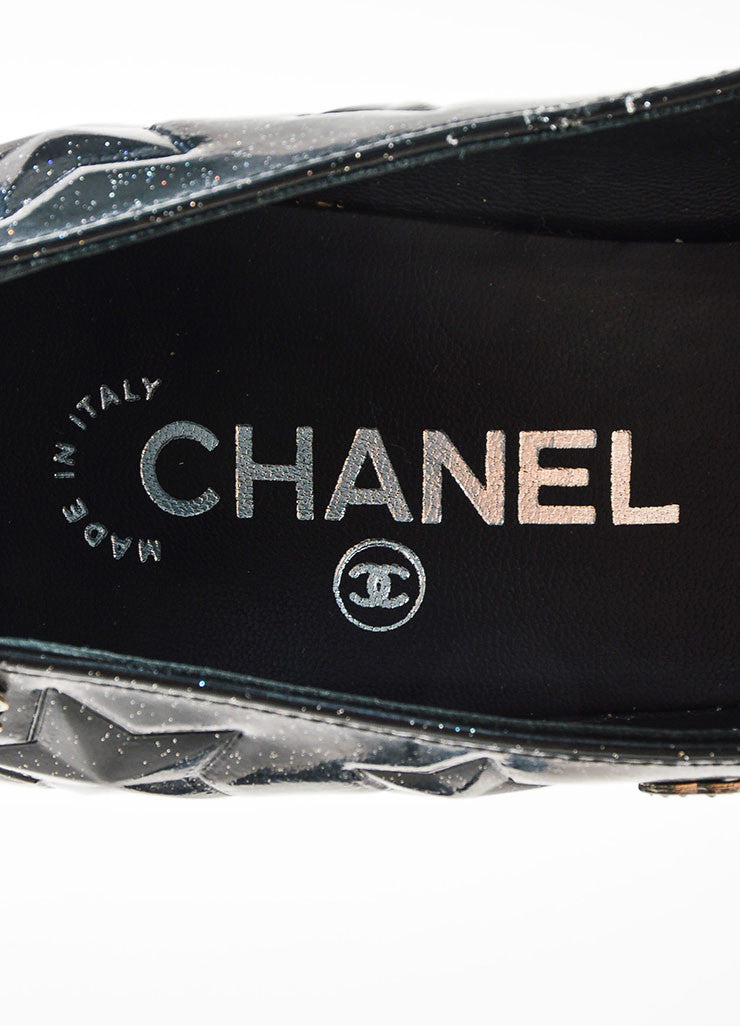 Black Chanel Leather Glitter Star Embossed Crystal 'CC' Platform Pumps Brand