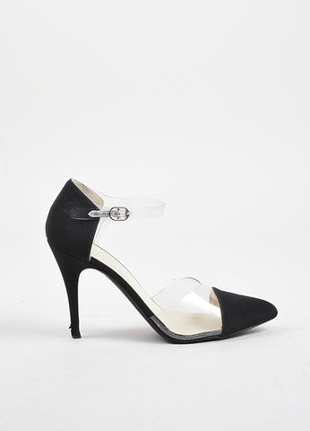 Chanel Black and Transparent Crepe PVC Pointed Toe Pumps Sideview