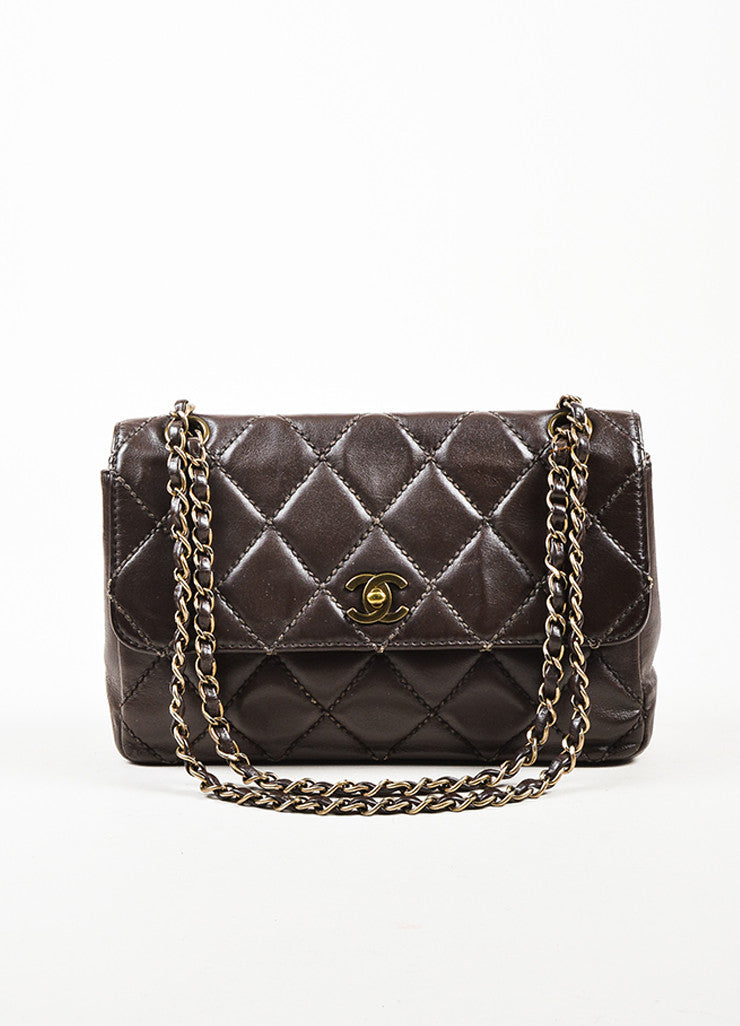 Chanel Brown Quilted Leather Classic Flap Medium Shoulder Bag Frontview