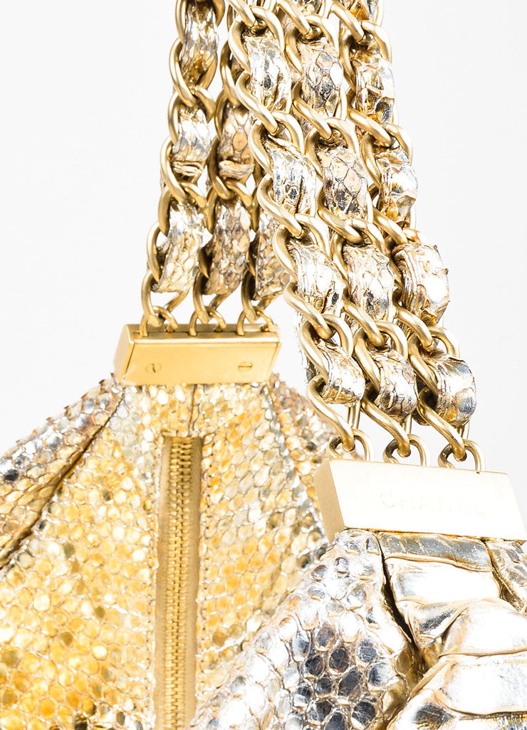 "Gold Chanel Metallic Python ""Rock and Chain"" Hobo Bag Detail 3"