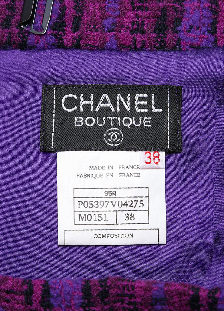 Chanel Purple, Black, and Multicolor Wool Tweed Woven Plaid Pencil Skirt Brand