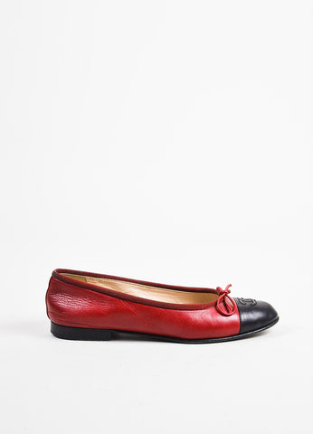 Chanel Red and Black Leather 'CC' Logo Cap Toe Bow Ballet Flats Sideview