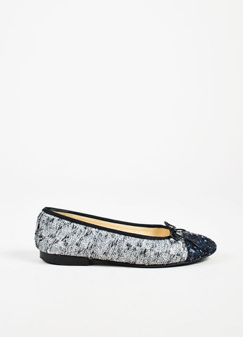 Chanel Silver and Navy Metallic Tweed Sequin Cap Toe 'CC' Ballet Flats Sideview