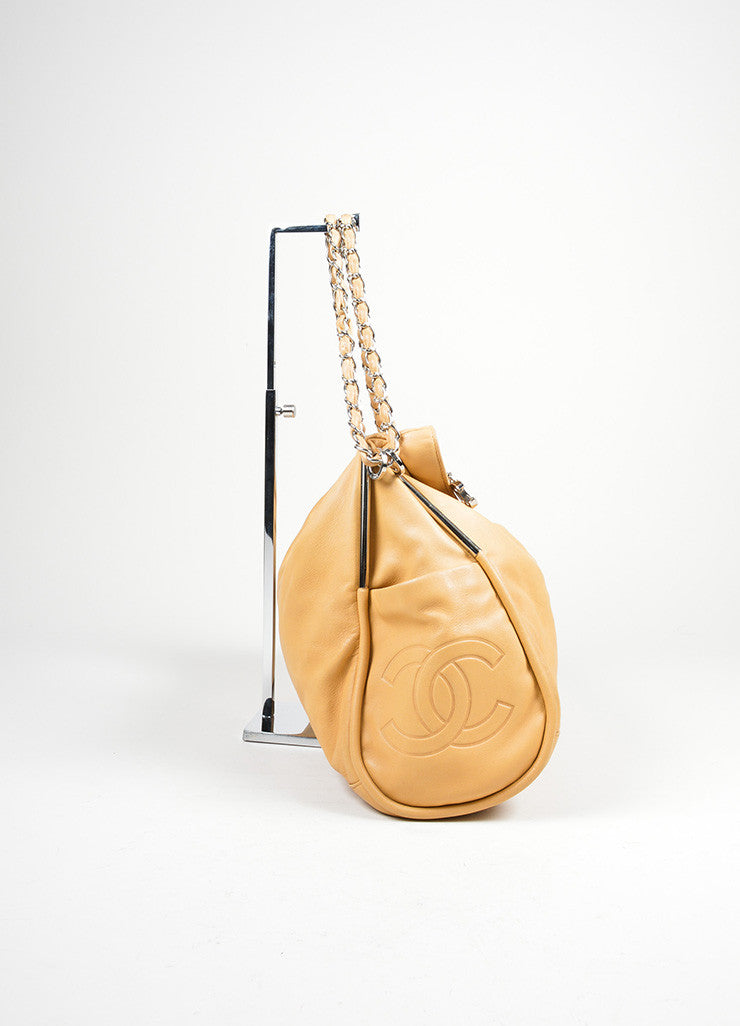"Tan Leather Chanel 'CC' Logo Chain Strap ""Ultimate Soft"" Hobo Bag Sideview"