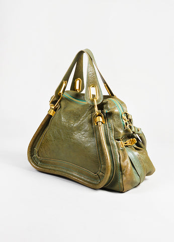 "Chloe Green Leather ""Small Paraty"" Satchel angle"