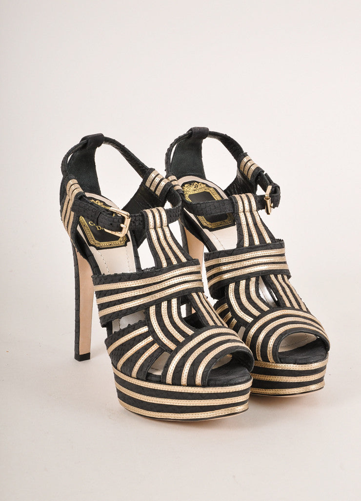 Christian Dior Black and Gold Metallic Strappy Leather Platform Heel Sandals Frontview
