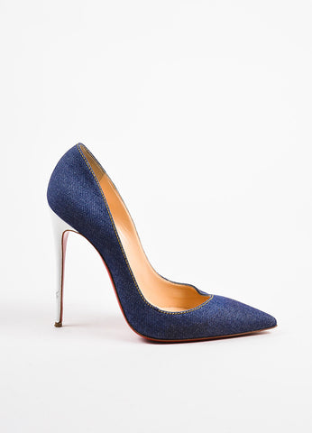 "Christian Louboutin Blue Denim ""So Kate 120"" Pointed Toe Pumps Sideview"