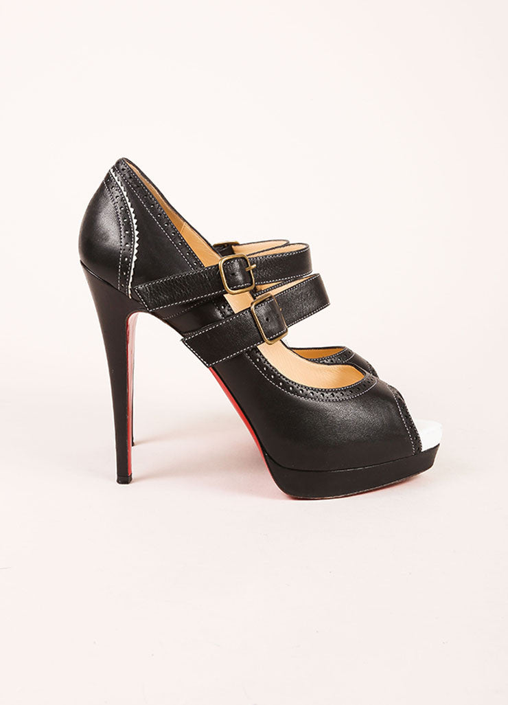 Christian Louboutin Black and White Leather Brogue Peep Toe Platform Pumps Sideview