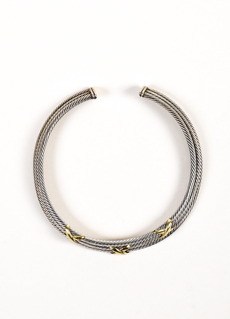 David Yurman Sterling Silver and 14K Yellow Gold 'X' Accent Cable Collar Necklace Frontview
