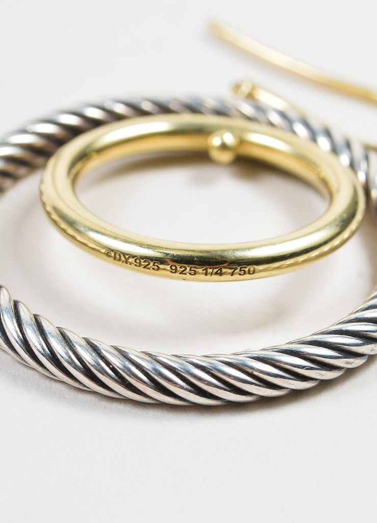 "Sterling Silver and 18K Yellow Gold David Yurman ""Mobile"" Cable Double Hoop Earrings Detail"