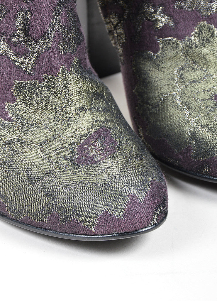 Brown, Green, and Blue Etro Brocade Tall Knee High Boots Detail