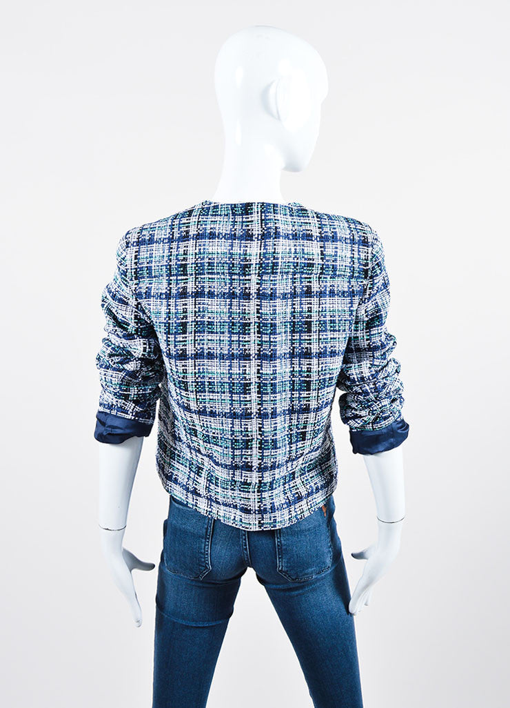 White, Blue and Green Etro Silk Knit Plaid Tweed Jacket Back