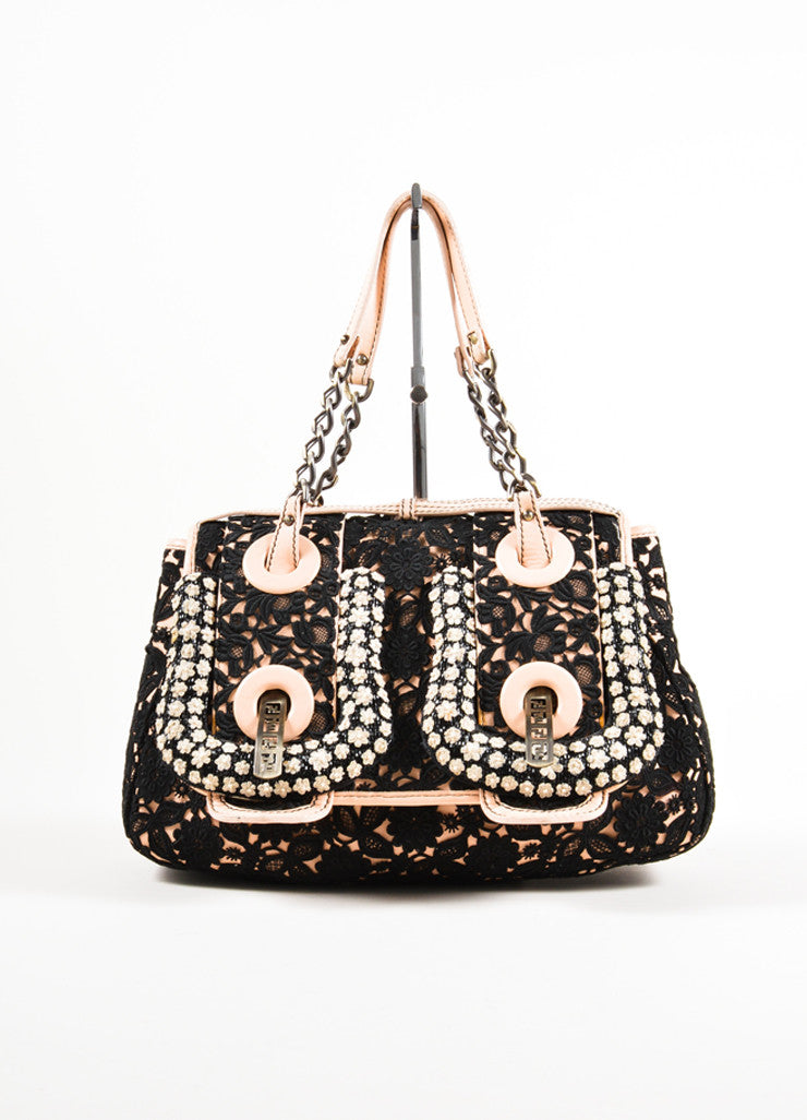 "Fendi Pale Pink and Black Leather Lace Floral Detail Chain Strap ""B."" Bag Frontview"