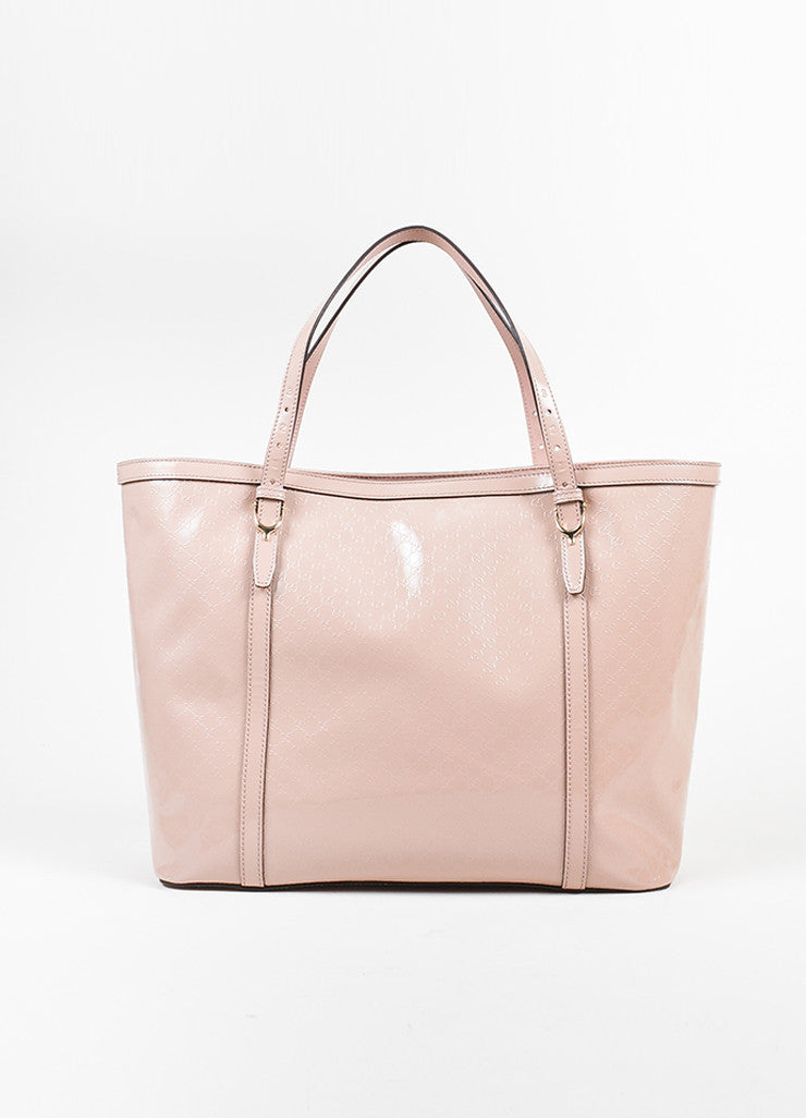 "Pink Gucci Patent Leather Monogram Embossed ""Microguccissima"" Tote Bag Frontview"