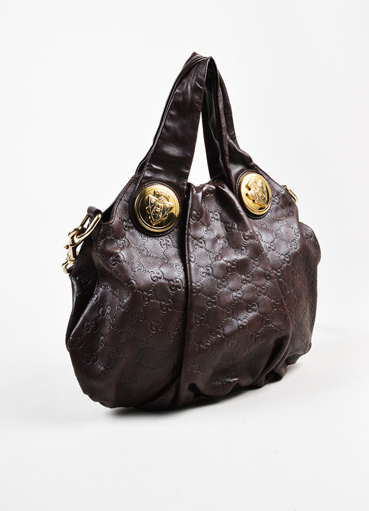 "Gucci Dark Brown Guccissima Leather Monogram Embossed ""Hysteria"" Hobo Bag Sideview"