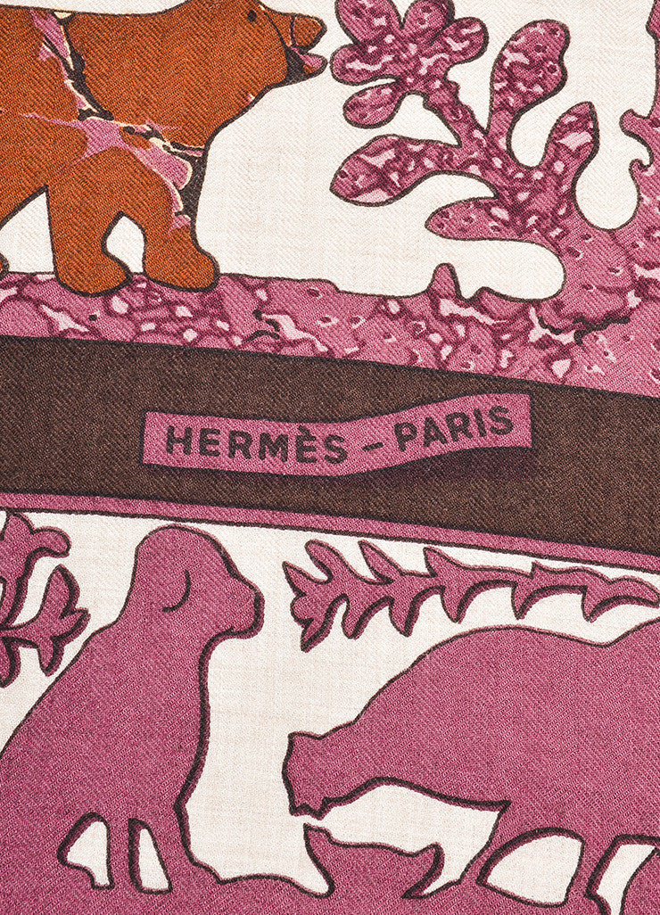 "Multicolor Hermes Cashmere and Silk ""Early America"" Print Square Scarf Brand"