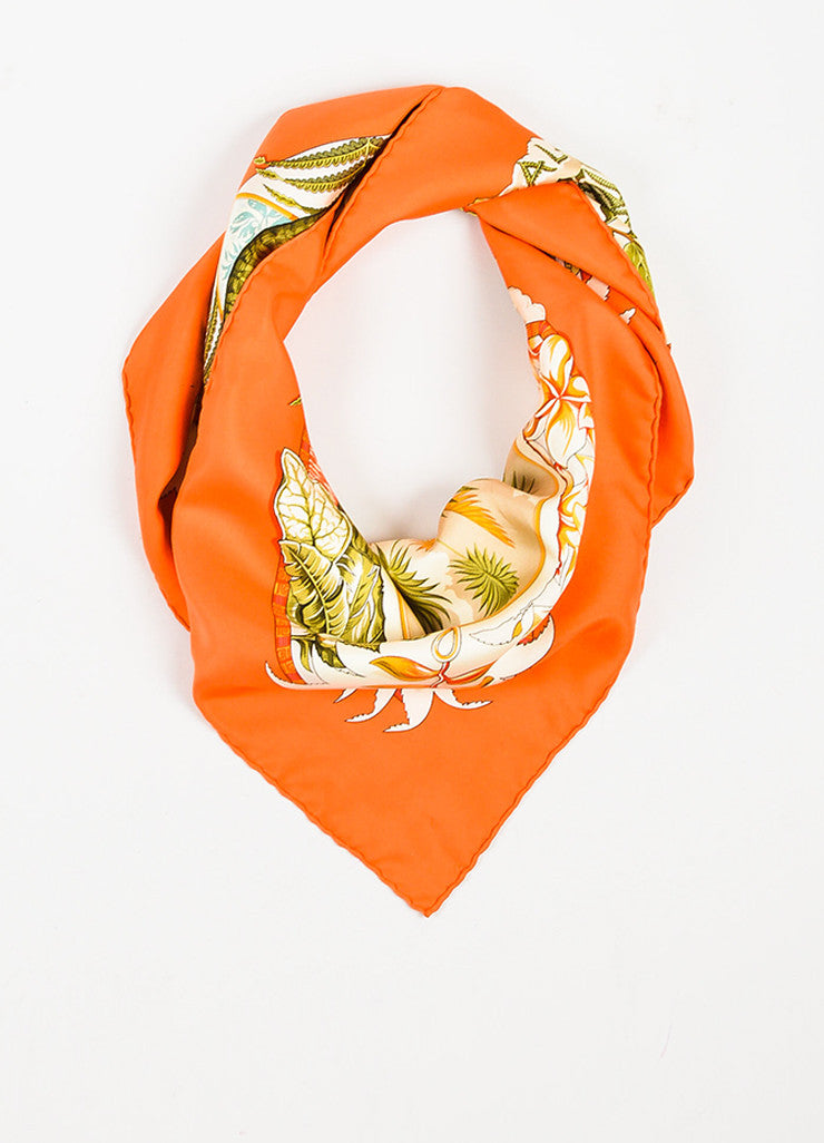 "Hermes Orange and Multicolor Silk Hula Girl Bird Print ""Aloha"" 90cm Scarf Frontview"