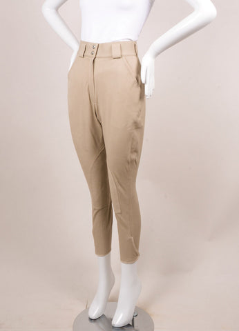 Hermes Tan High Waisted Stretch Cotton Twill Jodhpur Riding Pants Sideview