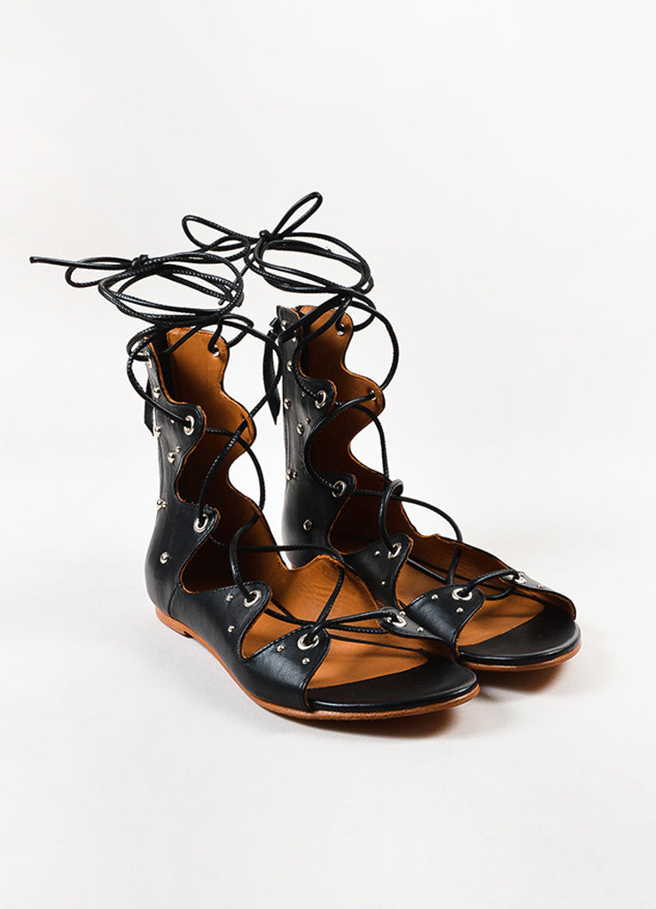 "IRO Black Leather Studded Lace Up ""Xiri"" Flat Gladiator Sandals Frontview"