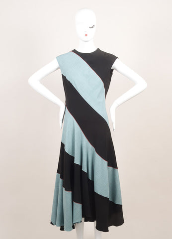 Jonathan Saunders New With Tags Black and Teal Wool Sleeveless A-Line Dress Frontview