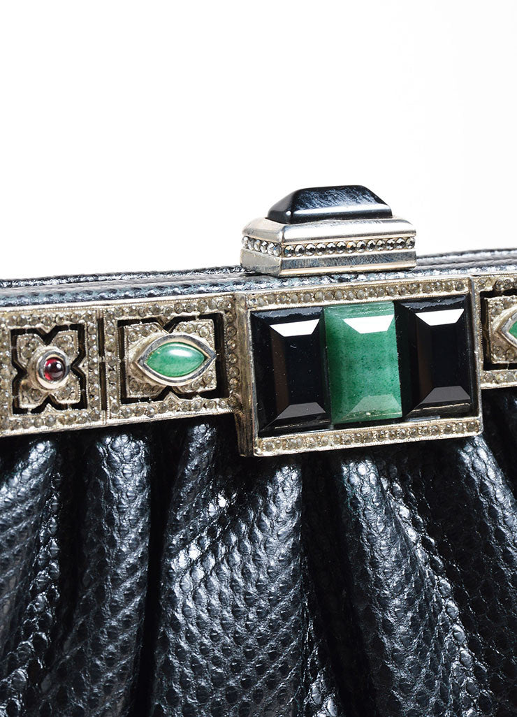 Judith Leiber Black Reptile Leather Jade, Onyx, and Moonstone Deco Chain Strap Bag Detail 2
