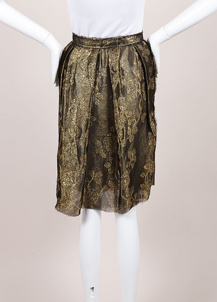 Lanvin Metallic Gold Silk Floral Brocade Pleated A-Line Skirt Backview
