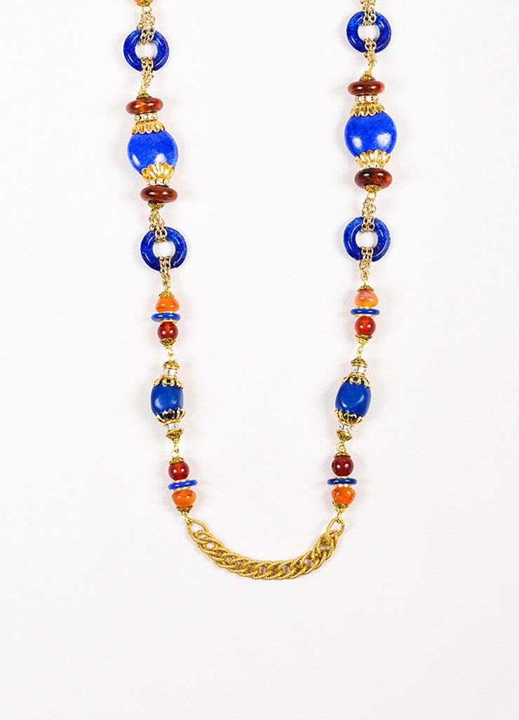 Lawrence Vrba Gold Toned Blue Amber Orange Beaded Embellished Strand Necklace Detail