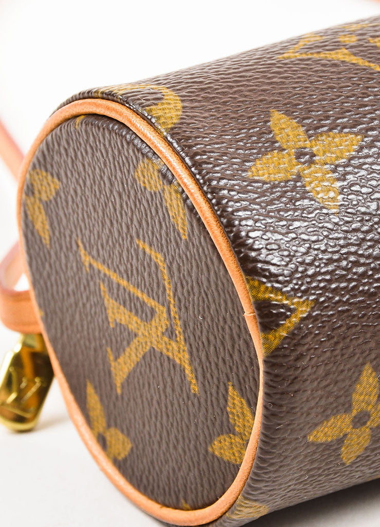 "Louis Vuitton Brown and Tan Coated Canvas and Leather ""Mini Papillon"" Cylinder Bag Detail"