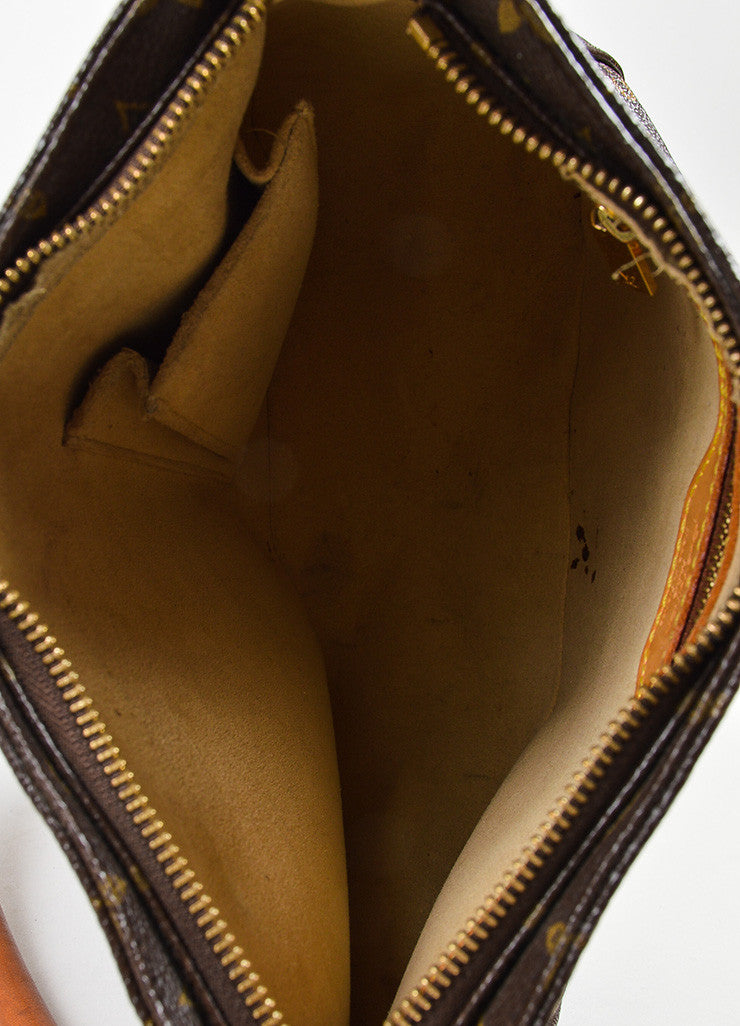 "Louis Vuitton Brown and Tan Coated Canvas Leather Monogram ""Looping MM"" Hobo Bag Interior"